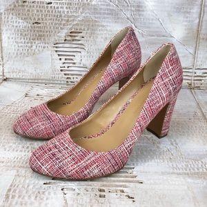 Banana Republic tweed block heel shoe pink 8